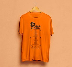 """Felix Neumann """"Solidarity"""" / oranges Shirt mit schwarzem Druck"""